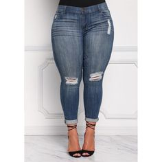 Plus Size Clothing   Plus Sized Medium Wash Distressed Skinny Jeans  ... ($45) ❤ liked on Polyvore featuring jeans, distressed jeans, blue jeans, blue ripped skinny jeans, skinny jeans and ripped blue jeans