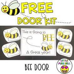Admin, parents and students will be excited to Buzz on in to your BEE-utiful classroom with this FREE Bee Door Kit!With this download, you will receive:✶ the sign and bee images needed to create this cute display!✶ tips on assembling the perfect door✶ a photograph to help you with your designSIMPLE ... First Grade Schedule, First Grade Organization, Easy Bulletin Boards, Bee Life Cycle, Teaching Kindergarten, Teaching Resources, School Door Decorations, Bee Images, School Doors