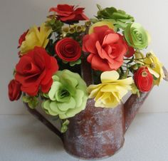 Paper Flowers arrangement in yellow orange and by SweetPeasFlorals, $25.00