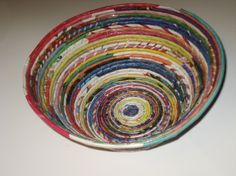 magazines coiled to make a bowl