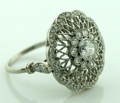 Handmade Art Deco diamond ring, circa 1930's. Fourtane.
