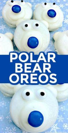 Polar Bear Cookies Polar Bear Oreos are a frozen fun winter-themed kids treat or holiday party dessert!Polar Bear Oreos are a frozen fun winter-themed kids treat or holiday party dessert! Dessert Party, Party Desserts, Kid Desserts, Creative Desserts, Healthy Desserts, Healthy Recipes, Keks Dessert, Dessert Crepes, Holiday Cookies