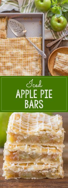 Perfectly spiced squares of apple pie with crisscross icing on top!
