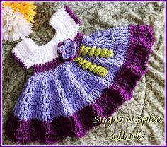 infant crochet dress pattern free | need a ruffled dress like this Sugar N Spice Baby Dress Free Pattern ...