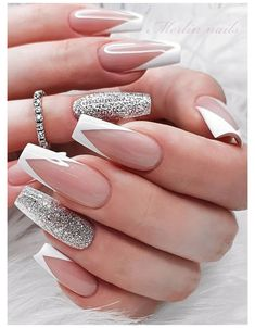 White Tip Acrylic Nails, Acrylic Nails Coffin Short, Coffin Shape Nails, White Coffin Nails, French Tip Nail Designs, French Tip Nails, Acrylic Nail Designs, White French Nails, French Tip With Glitter