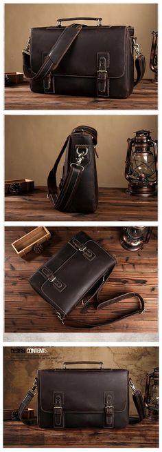 Handmade Vintage Genuine Leather Briefcase Messenger Bag Laptop Bag Men's Handbag