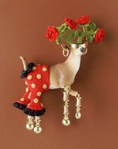2004, Flamenco Deer Señor Señorita del Sol, brooch, textile, synthetic, gold