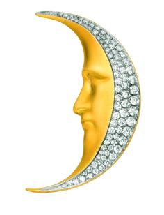 Moonlight PB-651. 18 kt yellow gold pendant brooch with diamonds.  #jewelry #artnouveau #barcelona