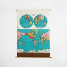 vintage pull down world map, vintage school map, pull down world political map…
