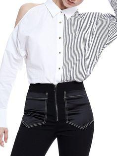 Shop Blouses - Cotton Stripes Casual Long Sleeve Paneled Blouse online. Discover unique designers fashion at StyleWe.com.