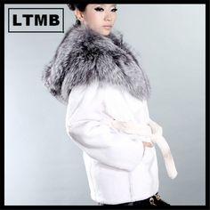LTMB417  Fashion style women's rex rabbit fur coat with silver fox fur hood white fur winter clothing full sleeve