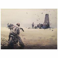 Motorcycle Posters, Motorcycle Art, Bike Art, Cult, Art Corner, Vintage Helmet, Courses, Painting Techniques, Watercolor Paintings