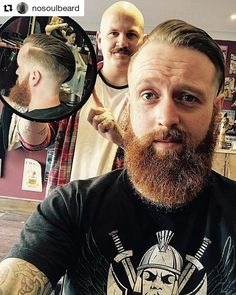 This is what happend when you mix our Brand Ambassador, an amazing barber, our products, and our T-Shirt Sweyn Forkbeard. Wow 👌  @nosoulbeard  @martin_kiltedbarber_mcginnis  #sweynforkbeard #malegrooming #tshirt #vikings #viking #headcase #barber #freshcut #witcher3 #beard #bearded #ginger #gingerbeard #olgierdvoneverec #tattooed #beardedbrothers #moustache #ink #inked #gentleman #gentlemen #beardoil #beardbalm #beardshampoo #moustachewax #claypomade #mensgrooming #grooming #beard #bearded