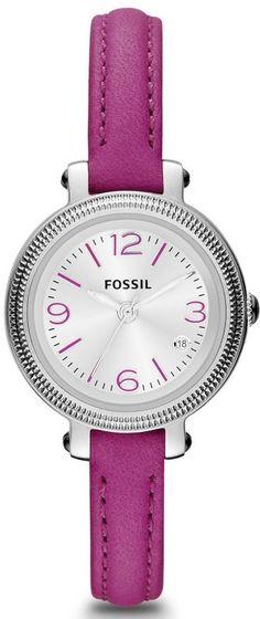 Capri Jewelers Arizona ~ www.caprijewelersaz.com Fossil Watches, Women's Heather Three Hand Leather Watch - Magenta #ES3334