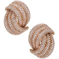 Preowned Palmiero Italian Diamond Gold Knot Earrings (89.600 BRL) ❤ liked on Polyvore featuring jewelry, earrings, multiple, yellow gold earrings, gold jewelry, yellow gold diamond earrings, diamond earrings and 18k diamond earrings