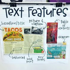 Text features anchor chart reading non-fiction Reading Lessons, Teaching Reading, Guided Reading, Teaching Ideas, Reading Activities, Educational Activities, Math Lessons, Shared Reading, Kindergarten Writing