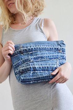 DENIM clutch bag with cotton lining // recycled denim