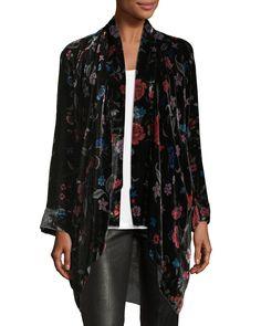 """Johnny Was """"Vella"""" kimono in floral-print velvet."""