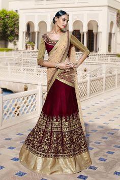 Maroon Velvet Designer Ghaghra Choli