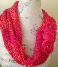 Glamorous Summer hand knitted cowl, lovely flowery color.    Antique chiffon roses, create classic beauty. Perfect for a special occasion.