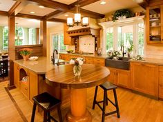 Kitchen With a Table for Two - Transitional Kitchen Makeover With Stylish Details on HGTV Kitchen Island Table, Kitchen Island With Seating, Kitchen Dining, Kitchen Islands, Long Kitchen, Stylish Kitchen, Kitchen And Bath, Beautiful Kitchens, Cool Kitchens