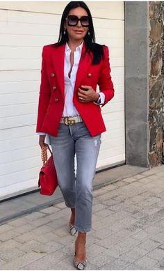 Red Fashion, Curvy Fashion, Spring Fashion, Fashion Looks, Winter Fashion, Fashion Outfits, Womens Fashion, Cute Blazer Outfits, Casual Outfits