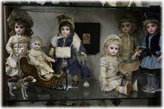 アンティークドール展2014.  Beautiful group of antique French Bebe dolls.