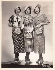 1930s frocks day wear plaid cotton dresses long skirts pleats hats gloves shoes purses vintage fashion style photo print model magazine 30s