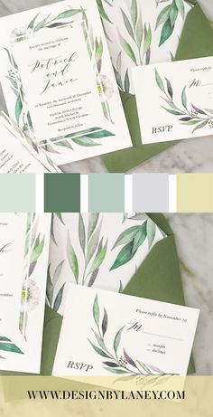 The Watercolor Greenery wedding invitation features romantic watercolor eucalyptus greenery and a hint of white and yellow daisies. This suite would be perfect for a garden wedding to complement your elegant, natural vibe. Mix and match envelope and text colors to make this wedding invite ideal for your Big Day. See below for all the details and corresponding pieces!