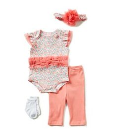 Starting Out Baby Girls Newborn-9 Months 4-Piece Ditsy Floral Layette Set