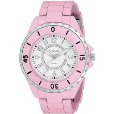 Vernier Women's 'V11026' Spring Light Salmon Watch ($30) ❤ liked on Polyvore featuring jewelry, watches, white face watches, white dial watches, bracelet jewelry, bezel jewelry и coin jewelry