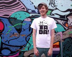 TADA Men's T-shirt, screenprinted tee, white t-shirt black design, magic t-shirt, funny tee, rabbit t-shirt, typography tshirt, hello DODO