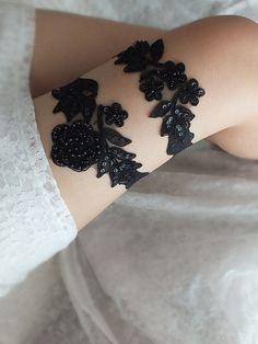 Black Lace Garter Set, steampunk Free Ship, Wedding Garter, Wedding garter,Gothic sexy garter , sexy goth gothic