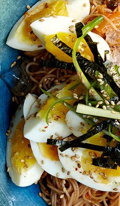 Soba Noodles with Kimchi and Eggs recipe