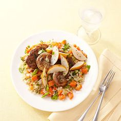 Pork and Pears with Quinoa.  I did not used pre-cut squash, I peeled & cut my own.  I used Bartlet pears.  Hubby proclaimed it a yummy dish.