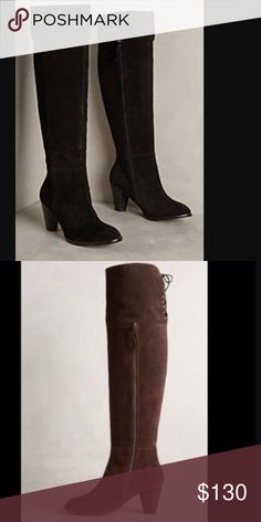 (final) Anthropologie Latigo boots flash sale! Black suede and worn one. Top flaps can be folded down as well to go below the knee Anthropologie Shoes Over the Knee Boots