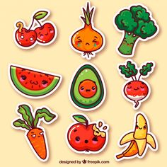 Vegetables and fruits funny stickers Free Vector Cute Food Drawings, Small Drawings, Cute Kawaii Drawings, Doodle Drawings, Stickers Kawaii, Funny Stickers, Printable Stickers, Planner Stickers, Doodles Kawaii