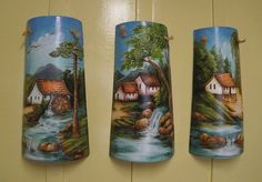 handpainted Decoupage, Art Projects, Projects To Try, Arts And Crafts, Diy Crafts, Horse Drawings, Country Scenes, Painting On Wood, Pillar Candles