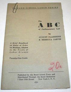 1936 Rand School ABC Parliamentary Law Labor Union Rules Socialist Pamphlet Rare