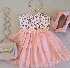 Floral strappless top with pink high waisted skirt, body cross over bag, and pink platforms