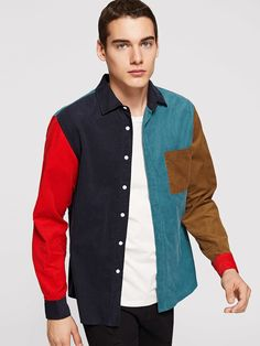 4520d03cf6 Men Single Pocket Color Block Corduroy Shirt -SheIn(Sheinside) Corduroy,  Color Blocking