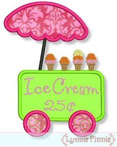 ICE CREAM CART Applique 4x4 5x7 6x10 Machine by LynniePinnie, $2.99