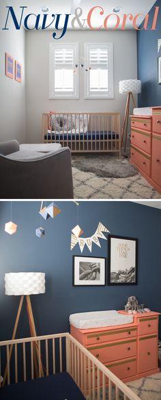 Navy & Coral Nursery   SNIGLAR Crib & Shag Rug   Tripod Lamp