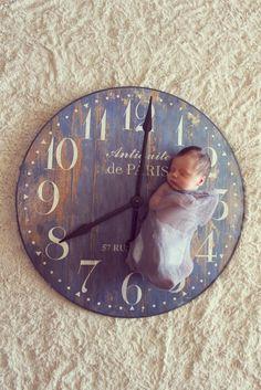 newborn photography,- use a clock to announce birth time- My sweet cousin Jude xoxoxo Newborn Baby Photos, Newborn Posing, Baby Poses, Newborn Shoot, Newborn Pictures, Baby Pictures, Baby Newborn, Children Photography, Newborn Photography