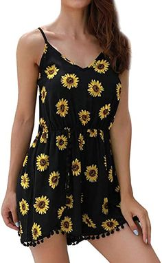 Summer New Women Fashion Sunflower Jumpsuit Camisole Sexy Bodycon Sleeveless Bodysuit Casual Daily Club Beach Playsuit Sexy, Sunflower Print, Short Jumpsuit, Printed Jumpsuit, Bustier, Summer Outfits Women, Summer Dresses, Womens Fashion Online, 98