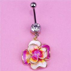 Real 925 Silver flower Belly Bar Piecing Naval Women Solid Sterling hot AB
