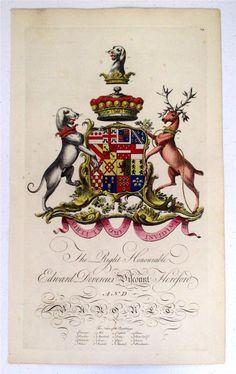 Coat of arms of Edward Devereux(1740–1783), 12th Viscount Hereford (E 1550), Joseph Edmondson's Baronagium Genealogium, London, 1764-1784.