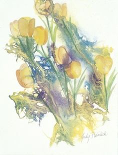 "ARTIST: Judy Heimlich TITLE: ""Tiptoe through the Tulips"" PRICE: $695 DESCRIPTION: Framed, watercolor and inks"