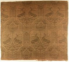 Textile Fragment with Recumbent Harts, Eagles, Clouds, and Sunrays Date: 1390s Geography: Made in possibly Venice, Italy Culture: Italian Medium: Silk, metal thread Accession Number: 46.156.36a, b-MET