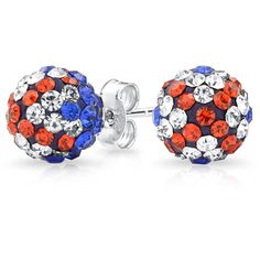 Bling Jewelry Bling Jewelry Shamballa Inspired British Flag Union Jack... ($9.99) ❤ liked on Polyvore featuring jewelry, earrings, red, red jewelry, pave earrings, red earrings, multi colored stud earrings and crystal stud earrings